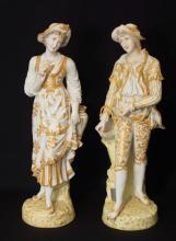 Pair Fine Handpainted German bisque figurines