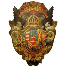 House of Lorraine 18th c. Armorial Shield on wood