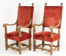 Pair Spanish Revival upholstered arm chairs