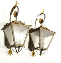 Pair wrought iron wall sconces