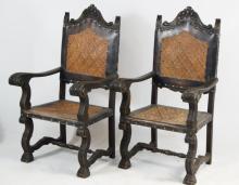 19th cent. Spanish monastery chairs - pair