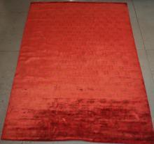 Fine Silk Nepalese handmade Red rug -