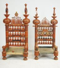 Pair of painted Pakistani wedding chairs