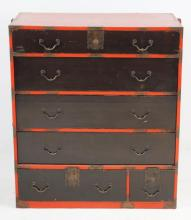 Japanese Tansu chest - one piece with brass