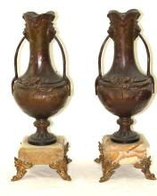 Pair French bronze urns w marble bases - 19