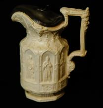 Medieval motif pitcher w pewter lid