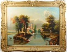 2 Antique oil on canvas Paintings - lake scene