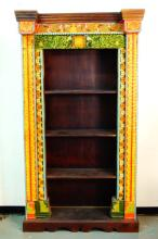 Rustic hand painted and carved bookcase