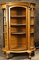 Oak curved glass china cabinet w carved lions