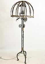 Art Nouveau Bronze & Wr. iron floor lamp