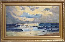 Hazel Williss oil on board Seascape