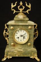 French Green Alabaster mantle clock