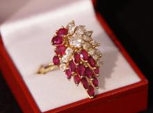 14kt Gold 5ct Ruby & 1.9ct diamond cocktail ring