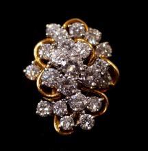 14kt Gold diamond cluster ring 2.75ctw diamonds