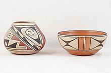 Zia Pueblo polychrome pot  & Gachupin bowl - 2pcs
