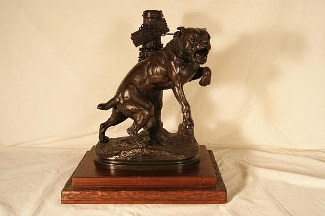 "C. H. Valton 19""  bronze bull dog signature in bronze, aged patina"
