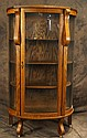 Mission oak china cabinet w curved glass