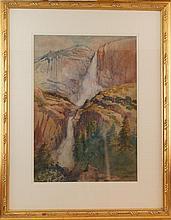 William Rice (1873-1963) Yosemite falls watercolor