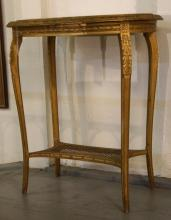 French marble top oval side table