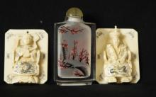 Antique Chinese snuff bottle & 2 carved plaques