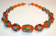 Turquoise necklace-estate 24 inch