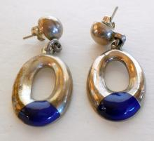 Sterling lapis vintage Mexican earrings