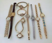 Vintage wristwatches/Elgin, Jurgensen /10 watches