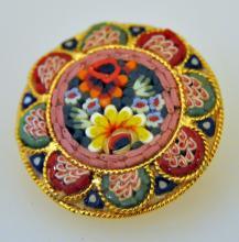 Micro mosaic vintage pin/Italian