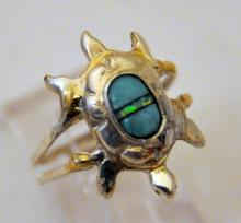 Abalone turquoise sterling turtle ring