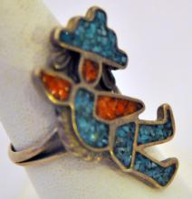 Turquoise coral sterling vintage ring