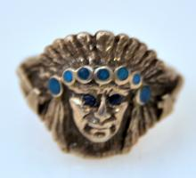 Sterling Indian vintage ring/ sapphire eyes