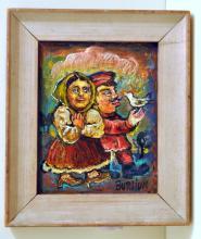 Signed Burliuk oil painting/couple w/ bird