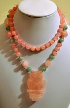 Rose Quartz vintage owl necklace/knotted beads