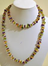 Gemstone amethyst, peridot necklace