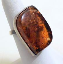 Sterling amber vintage ring/freeform stone