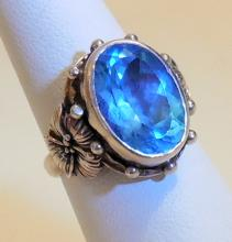 Sterling blue topaz vintage ring
