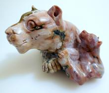 Cat agate carving/mother-baby