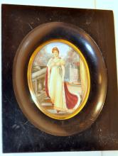 Ebony Viennese antique oil painting/ivory