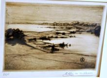 Shinnecock Hills mezzotint signed Zella de Milhau
