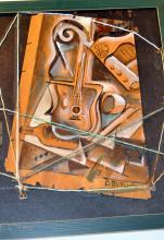 Signed Burliuk oil folk art painting