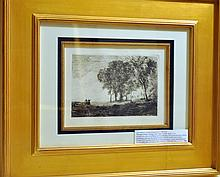 Vintage etchingCorot- French framed /1866