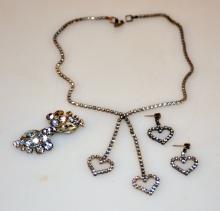 Rhinestone necklace, earrings vintage pin