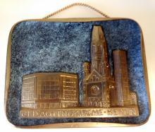 Vintage brass Berlin plaque/church