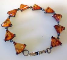 Sterling amber triangular bracelet
