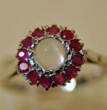Cabochon moonstone ruby sterling ring