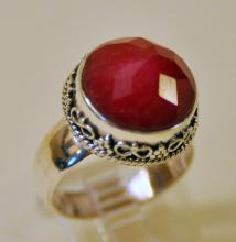 Ruby faceted sterling ring