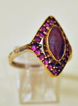 Ruby vermeil ring marquis stone