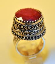 Sterling ruby ring ceremonial 20 mm