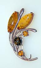 Sterling amber floral pin with Baltic amber