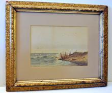 Watercolor signed/1885 shipwreck